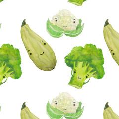 Watercolor vegetable pattern, broccoli, zucchini, cauliflower on white background