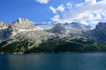 the spectacular Lake of Fedaia at the base of the Marmolada glacier