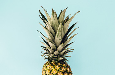 pineapple isolated on sky blue background