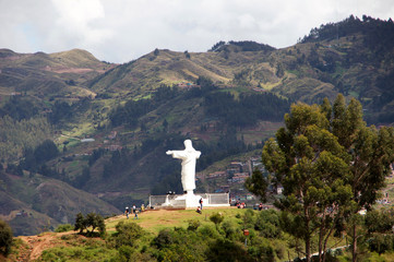 Fotobehang Zuid-Amerika land christus statue Cusco - Peru South America