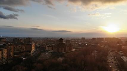 old Church in Armenia, sunset