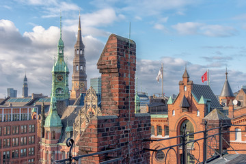 The skyline of Hamburg Germany from the Unesco World Heritage