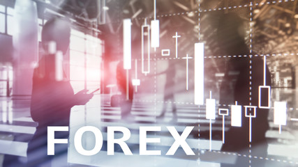 Forex trading, financial candle chart and graphs on blurred business center background.
