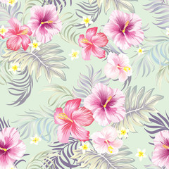 Seamless vector pattern with tropival fliwers. Summer background