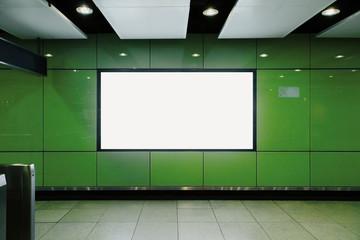 Empty black subway billboard front