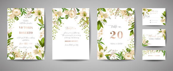 Floral wedding set of cards invitation, rsvp, thank you, reception, save the date, template design, trendy cover, graphic poster, brochure with white lily flowers and gold foil elements in vector