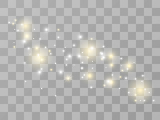 Vector sparkles on transparent background. Christmas abstract pattern. Sparkling magic dust particles. White sparks glitter special light effect.