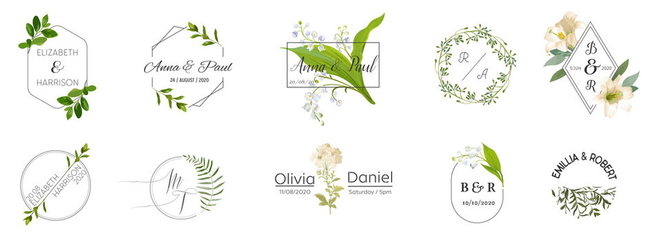 Big set of Wedding monogram logos collection, hand drawn watercolor rustic and floral templates for Invitation cards, Save the Date, elegant identity for restaurant, boutique, cafe in vector