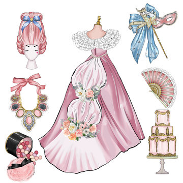 Fashion Carnival Vintage illustration - Group of vintage objects - Old century fashion items