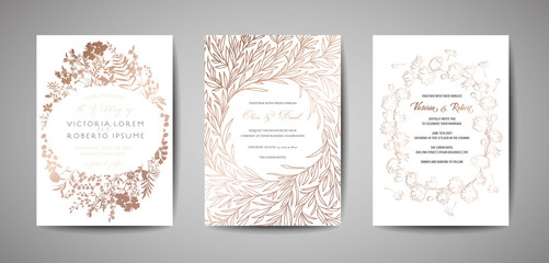 Set of luxury Wedding Save the Date, Invitation Cards Collection with Gold Foil Leaves, Flowers and Wreath. Vector trendy cover, graphic poster, floral brochure, design template