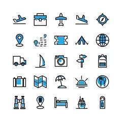 travel filled icon set
