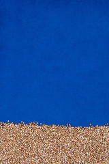 Buckwheat on blue cloth