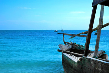 Wooden traditional ship on paradise beautiful view from Zanzibar island Indian ocean