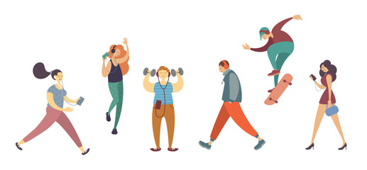 Male and Female Character Listening Music with Headphone on White Background Isolated Set. Active People Image Dancing, Skating, Walking, Do Sport Exercise. Flat Cartoon Vector Illustration