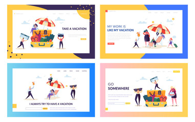 Office Worker Moving to Beach Concept Landing Page. Happy Business Character Pack for Vacation Set. People with Glasses Camera Plane Ticket Website or Web Page. Flat Cartoon Vector Illustration