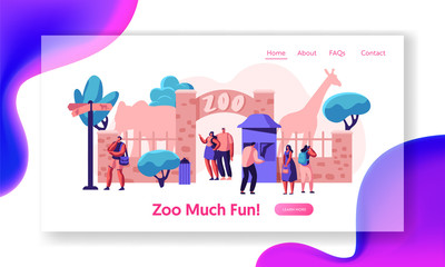 Zoo Entrance Gate with Giraffe Elephant Landing Page. Many People Come to Exotic African Animal Park. Family Summer Weekend Outdoor. Woman Visitor Website or Web Page. Flat Cartoon Vector Illustration