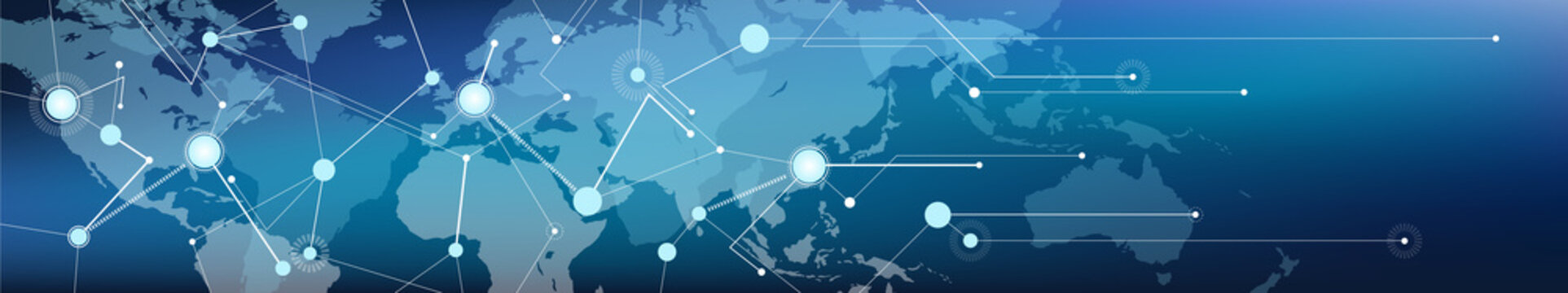 connected world map banner – communication / logistics and transportation / commerce, digitalization and connectivity, vector illustration