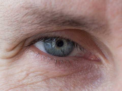 Wrinkles in the eyes of a man of age. Close up.