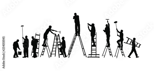 Painter workers on ladder vector silhouette isolated on