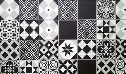 Black and white traditional ceramic floor tile