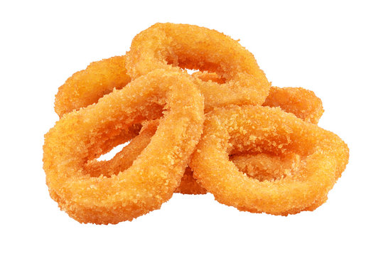 Squid or onion rings isolated