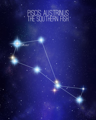 Piscis Austrinus the southern fish constellation on a starry space background with the names of its main stars. Relative sizes and different color shades based on the spectral star type.