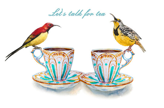 Party colorful tea cups and saucers with two yellow birds closeup. Let's talk for tea. Sketch handmade. Postcard for Valentine's Day. Watercolor illustration.
