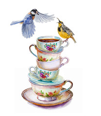 Party colorful tea cups and saucers closeup with two birds. Sketch handmade. Postcard for holiday. Watercolor illustration.
