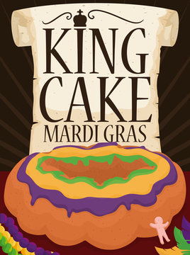 Scroll and King's Cake with Plastic Baby for Mardi Gras, Vector Illustration