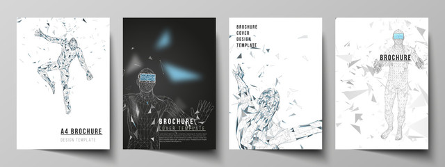 The vector layout of A4 format modern cover mockups design templates for brochure, magazine, flyer, booklet, annual report. Man with glasses of virtual reality. Abstract vr, future technology concept.