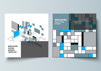 The minimal vector layout of two square format covers design templates for brochure, flyer, magazine. Abstract polygonal background, colorful mosaic pattern, retro bauhaus de stijl design.