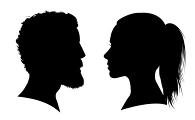 Man and woman face silhouette. Face to face – vector for stock