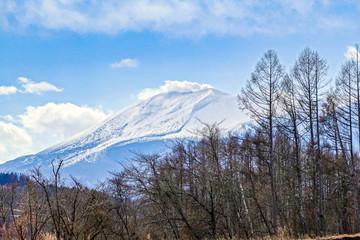 冬の浅間山と噴煙