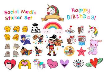 Social network vector sticker set. Love, panda, cat, dinosaur, dog, rainbow, bear, rabbit, bunny, unicorn stickers - Vector