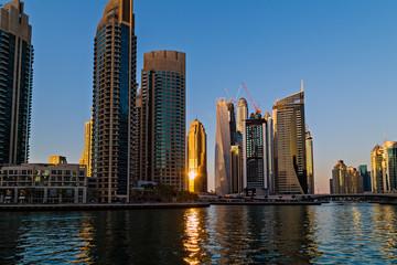 Buildings of Dubai Marina bay view skyscrapers, Dubai, United Arab Emirates
