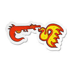 sticker of a cartoon fire breathing dragon