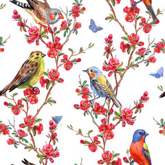 Seamless pattern of birds and quince blossoms on a white background, spring print for fabric, background for different designs.