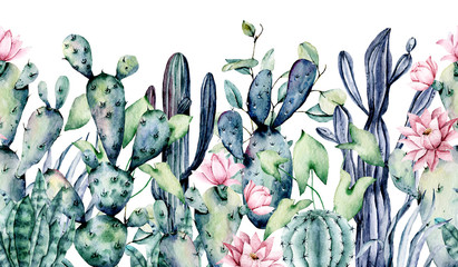 Watercolor cacti, seamless border, hand drawn flower illustration. Perfect for floral design greeting card, blog, site, banner, wedding invitation. Isolated on white.  Cacti collection.