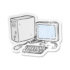 retro distressed sticker of a cartoon computer