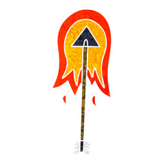 quirky retro illustration style cartoon burning arrow