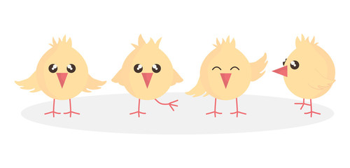 cute little chicks easter characters