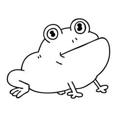 quirky line drawing cartoon frog