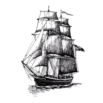 Ship sailing yacht boat antique vintage antique black ink hand drawing