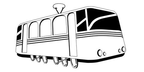 Isolated comic trolley image. Public transport. Vector illustration design