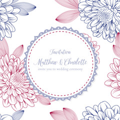 Cute floral frame on a seamless pattern with flowers of chrysanthemums. Vector element for design of congratulations, wedding ceremony, invitations to a celebration.