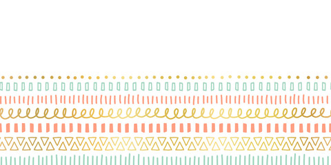 Seamless border doodle strokes, lines, triangles repeating vector pattern. Ethnic and tribal motifs, gold foil elements coral pink teal. Modern decor for cards, poster, invitation, celebration, banner