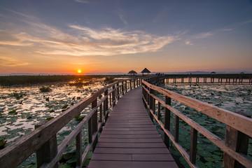 sunset landscape wood bridge