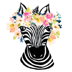 Cute Hand Drawn Zebra with Watercolor Flower Artwork Background