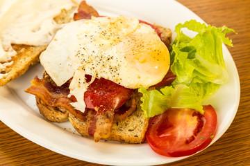 Fried Egg on Bacon Lettuce and Tomato Sandwich with Oak Grain BG