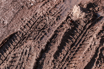 Track tread on dirt. Dirt road after the rain.